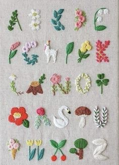 Super Stickerei Baby Room Sweets Ideen Super Embroidery Baby Room Sweets id Hand Embroidery Stitches, Embroidery Art, Cross Stitch Embroidery, Embroidery Alphabet, Geometric Embroidery, Embroidery Sampler, Ribbon Embroidery, Knitting Stitches, Creative Embroidery