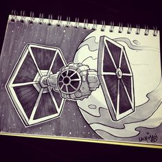 Tie fighter ink and marker sketch. Nave Star Wars, Star Wars Film, Star Wars Rebels, Star Wars Art, Tie Fighter, Fighter Pilot, Cuadros Star Wars, Star Wars Drawings, Star Wars Tattoo