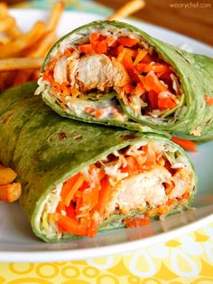 These tasty buffalo chicken wraps take all of 15 minutes to make, and boy are they good!