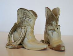 Frankoma Pottery Cowboy Boot & Horseshoe Vintage Bookend: Photo for Ad 16011