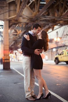 Chicago el track engagement photo, im not someone who'd do engagement photos,but the background makes this awesome!