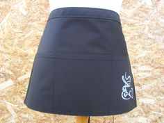 Black half apron with three pockets.  Simple Black Apron with silver embroidered coffee cup. Server apron. Cafe Apron. Item No. LDC0034 by LDCcreations on Etsy