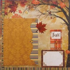 Fall Scrapbook Page Premade 12x12. Gems and glitter embellishments. Compliments fall, hiking, vacation, or leaf raking photos.