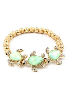 #Mint #Bead #Turtle #Charm #Bracelet