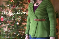 Pullover to cardigan refashion tutorial - love this idea with a piece from an old belt...