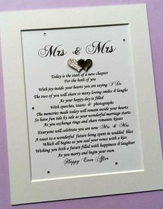 Lesbian Wedding Gift Lesbian Couple Mrs and Mrs Bride and Gift