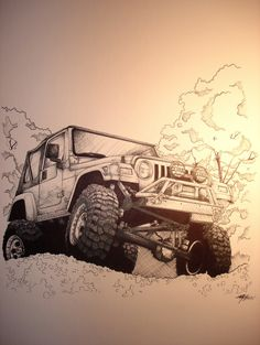Picture I did of a Jeep Wrangler with pen. Car Design Sketch, Car Sketch, Car Drawings, Cool Art Drawings, Jeep Drawing, Basic Sketching, Cj Jeep, E Motor, Sports Car Wallpaper