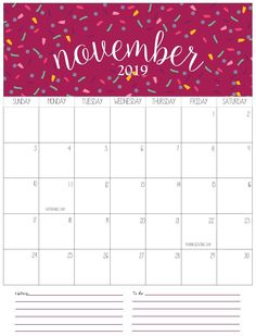 Monthly Printable Calendar 2019 January February March April May June July August September October November December Templates Free Holidays Planner Cute USA November Calendar, January To December, Holiday Calendar, 2019 Calendar, 2018 Printable Calendar, Print Calendar, Calendar Pages, Calendar Design, Monthly Calendars