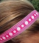 One Up Pink with White Multi Polka Dots SUPER CUTE Non Slip Headband