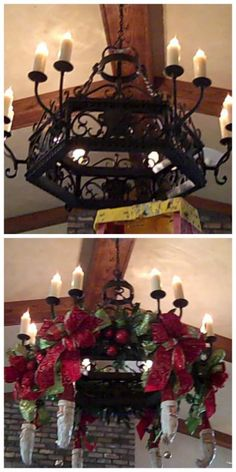 Christmas #Santa #Chandelier Over the top decorating ideas