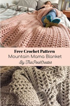 The Mountain Mama Blanket Free Crochet Pattern This blanket is a great way to learn some new stitches and hold your interest as you crochet It uses 5 basic crochet stitches single Basic Crochet Stitches, Afghan Crochet Patterns, Crochet Basics, Knitting Patterns, Crochet Afghans, Crochet Throw Pattern, Doll Patterns, Manta Crochet, Crochet Baby