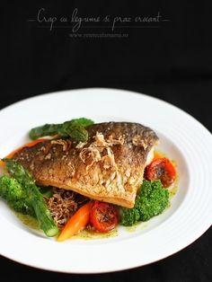 carp with vegetables and crispy Crap, Restaurant, Seafood, Steak, Beef, Baking, Vegetables, Sea Food, Meat
