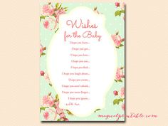 Wishes for the baby card Mint Shabby Chic Baby by MagicalPrintable