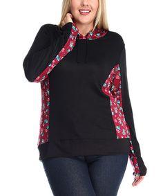 Look at this #zulilyfind! Black & Burgundy Floral Hoodie - Plus #zulilyfinds