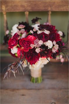 red and burgundy bouquet with blush Photographer: Jake + Necia Photography Flowers: Louloudi Boutique Floral Design via wedding chicks Red Bouquet Wedding, Blush Bouquet, Red Wedding Flowers, Bridal Flowers, Red Flowers, Floral Wedding, Fall Wedding, Latin Wedding, Geek Wedding