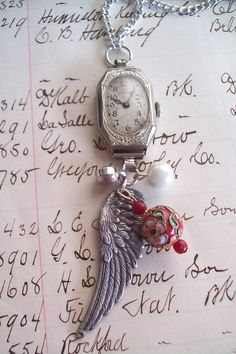 Vintage Jewelry Repurposed Repurposed Antique Ladies Wrist Watch With Wings Necklace - Vintage Jewelry Crafts, Recycled Jewelry, Old Jewelry, Jewelry Art, Antique Jewelry, Handmade Jewelry, Jewelry Design, Jewelry Making, Silver Jewelry