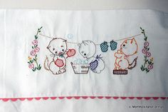 Mommy's Apron Strings: 3 Little Kittens Baby Blanket Baby Embroidery, Hand Embroidery Stitches, Hand Embroidery Designs, Cross Stitch Embroidery, Ribbon Embroidery, Kitten Baby, Baby Kittens, Little Kittens, Embroidered Baby Blankets