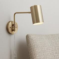Carla Modern Swing Arm Wall Lamp Brushed Brass Plug-in Light Fixture Cylinder Down Shade for Bedroom Bedside Living Room Reading - 360 Lighting Plug In Wall Lamp, Plug In Wall Lights, Led Wall Lamp, Wall Sconces, Swing Arm Wall Lamps, Lamp Sets, Downlights, Lamp Design, Light Fixtures