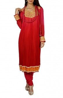 Red Georgette Salwar By Shyam Narayan Rs 10500
