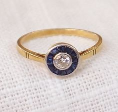 Vintage Art Deco 18k Gold Diamond and Sapphire Engagement Ring
