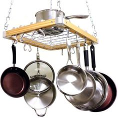 Cooks Standard Ceiling Mounted Wooden Pot Rack-NC-00268 - The Home Depot