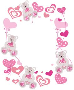 Transparent Hearts PNG Photo Frame with Teddy Bears