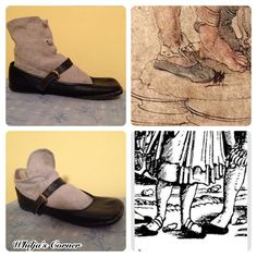 Women's short socks as seen in woodcuts of Landsknecht and their units on the march. Early 16th C.