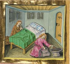 Medieval Bed, Medieval Life, Medieval Manuscript, Illuminated Manuscript, Bed Scene, Holy Roman Empire, Linen Bedding, Bed Linens, Historical Art