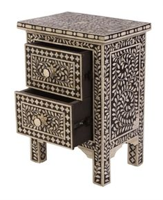 Tanaya Bone Inlay Bedside Table :: MATT BLATT
