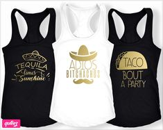 Adios Bitchachos Shirt, Mexico bachelorette party shirts, Fiesta Shirts, Tacos and Tequila. Ideas of custom bachelorette party shirts and tanks for every squad. Unique set of bachelorette shirts for the bride and bridesmaid for a fun girls weekend night. Whatever your celebration theme is
