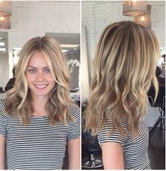 Long wavy locks with highlights on a round face