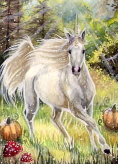 October Haze, unicorn galloping through a dew and sun soaked autumnal landscape