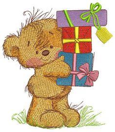 Happy birthday, teddy bear embroidery design. Machine embroidery design. www.embroideres.com