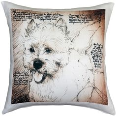 The Cairn Terrier Dog Pillow makes a great gift for anyone that owns and loves this breed. Up Dog, Pillow Arrangement, Terrier Dogs, Cairn Terriers, Westies, Outdoor Throw Pillows, Dog Art, Pet Care, Linen Fabric