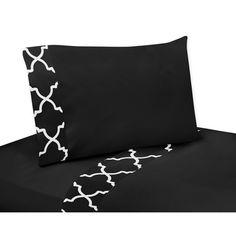 Sweet Jojo Designs Black and White Trellis Collection 4-piece Sheet Set