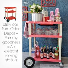 Warming temperatures mean outdoor parties. Host yours in style with this drink cart by Organizing Made Fun.