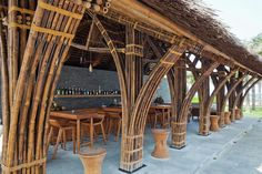 The tropical bamboo beach bar of the naman retreat in Da Nang City, Vietnam designed by Vo Trong Nghia Architects. Bamboo Architecture, Tropical Architecture, Sustainable Architecture, Architecture Design, Sustainable Design, Renovation Design, Bamboo Roof, Bamboo House Design, Bamboo Building