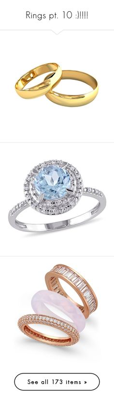 """""""Rings pt. 10 :)!!!!"""" by nerdbucket ❤ liked on Polyvore featuring jewelry, rings, engagement rings, yellow gold rings, gold ring, blue topaz jewelry, yellow gold blue topaz ring, rose gold, stacking rings jewelry and triple ring"""