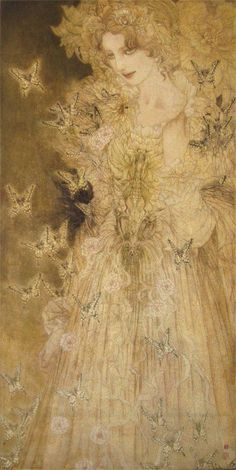 Japanese contemporary art Masaaki Sasamoto - Inspiration for Emily Gustav Klimt, Images Esthétiques, Shades Of Yellow, Beautiful Love, William Morris, Mellow Yellow, Japanese Art, Asian Art, Wicca