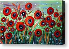Red Poppies In Grass Painting by Luiza Vizoli