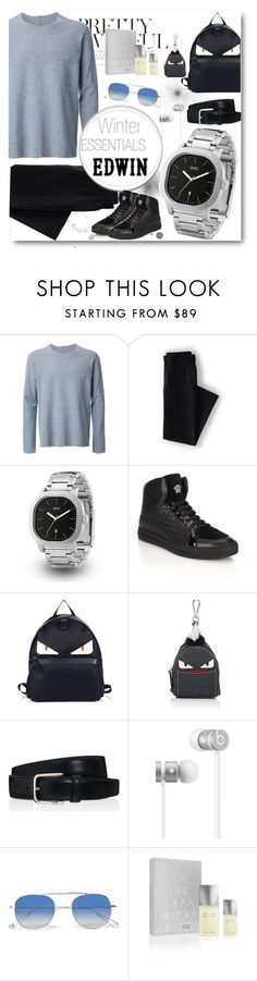 """""""Winter Essentials   Style with EDWIN"""" by zlab-watch ❤ liked on Polyvore featuring Kazuyuki Kumagai, Lands' End, Versace, Fendi, Tod's, Beats by Dr. Dre, Garrett Leight, Issey Miyake, men's fashion and menswear"""