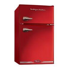 Nostalgia Electrics RRF325HNRED Retro Series 3.1-Cubic Feet Compact Refrigerator Freezer, Red