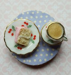 Fridge magnet, miniature tea and cake, food refrigerator magnets, kitchen decor, Christmas gift by MagentaMinis on Etsy