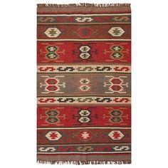 Handmade Flat-Weave Tribal-Pattern Multicolored Area Rug (4' x 6')