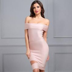 Off Shoulder Mini Hollow Out Bandage Party Dresses