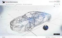 Audi #onemillionreasons #webdesign #inspiration #UI #Clean #HTML5 #Social Media #WebGL #Silver #White #Blue