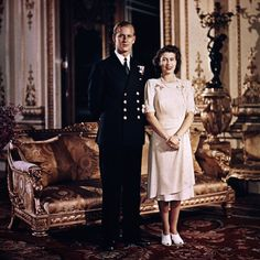 1947: Princess Elizabeth and Prince Philip, Duke of Edinburgh at Buckingham Palace shortly before their wedding. (Photo by Hulton Archive/Getty Images) Getty Images