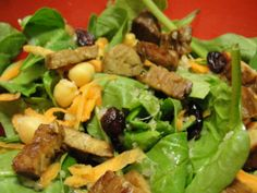 Maple Tempeh Spinach Salad with Orange Dressing