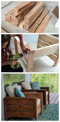 Outdoor furniture diy project porch furniture patio furniture deck furniture outdoor living summer stained wood diy furniture stain it any color just add cushions and pillows cottage decor outdoor decor home decor diy decor easy to make o Woodworking Projects Diy, Diy Wood Projects, Home Projects, Diy Summer Projects, Popular Woodworking, Woodworking Bench, Woodworking Joints, Woodworking Shop, Youtube Woodworking
