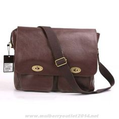 8643224324 Mulberry Mens Dominic Natural Leather Messenger Bag Dark Coffee Discount